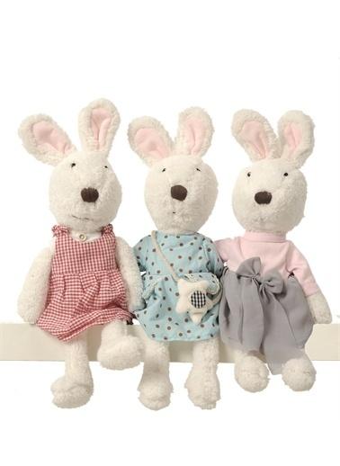 Sole İthal Peluş Sevimli Tavşan (45 cm)  Emoji 3'lü Magnet ile... Pembe